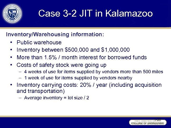Case 3 -2 JIT in Kalamazoo Inventory/Warehousing information: • Public warehouse • Inventory between