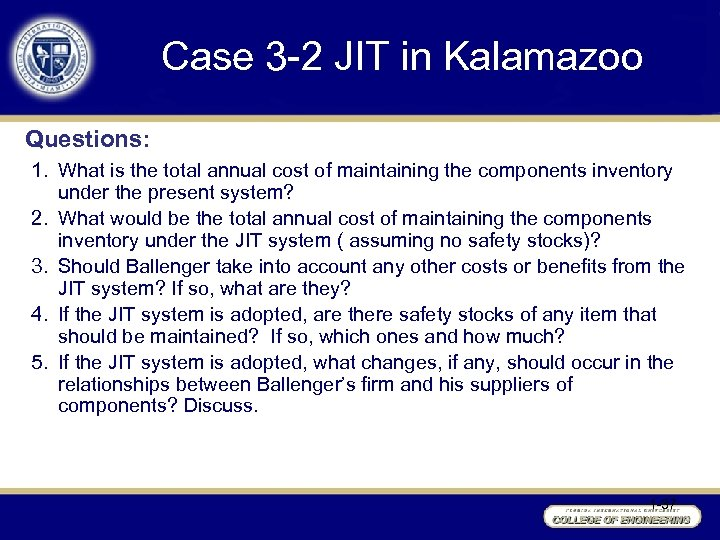 Case 3 -2 JIT in Kalamazoo Questions: 1. What is the total annual cost