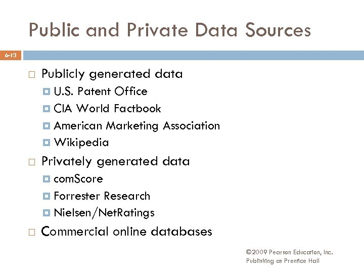 Public and Private Data Sources 6 -13 Publicly generated data U. S. Patent Office