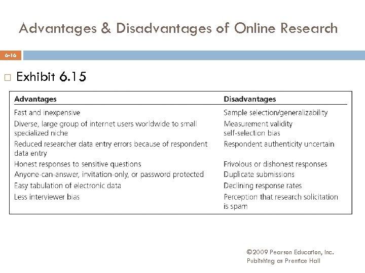 Advantages & Disadvantages of Online Research 6 -16 Exhibit 6. 15 © 2009 Pearson