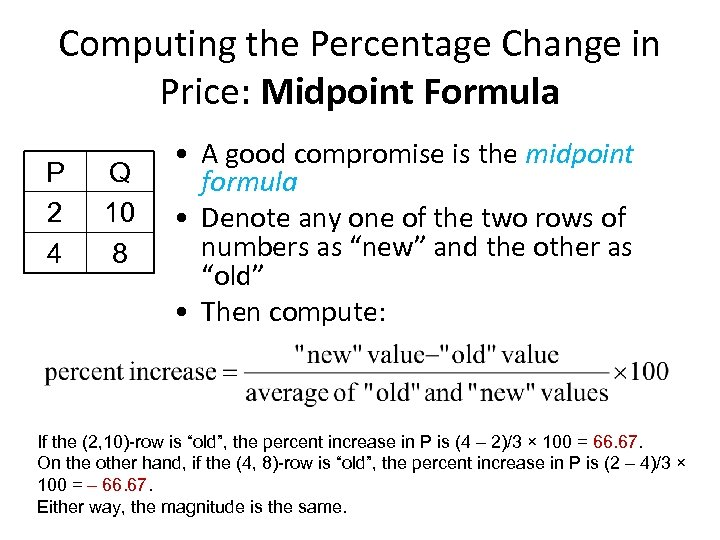 Computing the Percentage Change in Price: Midpoint Formula P 2 4 Q 10 8