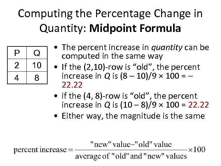 Computing the Percentage Change in Quantity: Midpoint Formula P 2 4 Q 10 8