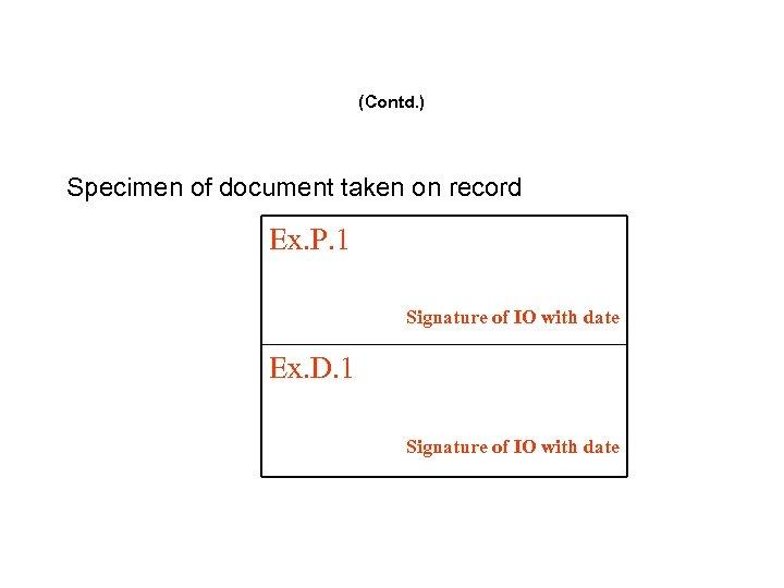 (Contd. ) Specimen of document taken on record Ex. P. 1 Signature of IO