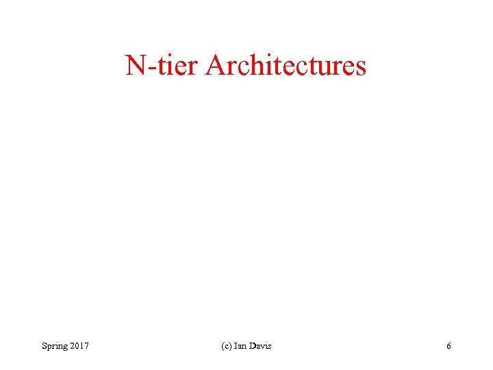 N-tier Architectures Spring 2017 (c) Ian Davis 6