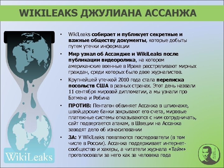 WIKILEAKS ДЖУЛИАНА АССАНЖА • Wiki. Leaks собирает и публикует секретные и важные обществу документы,