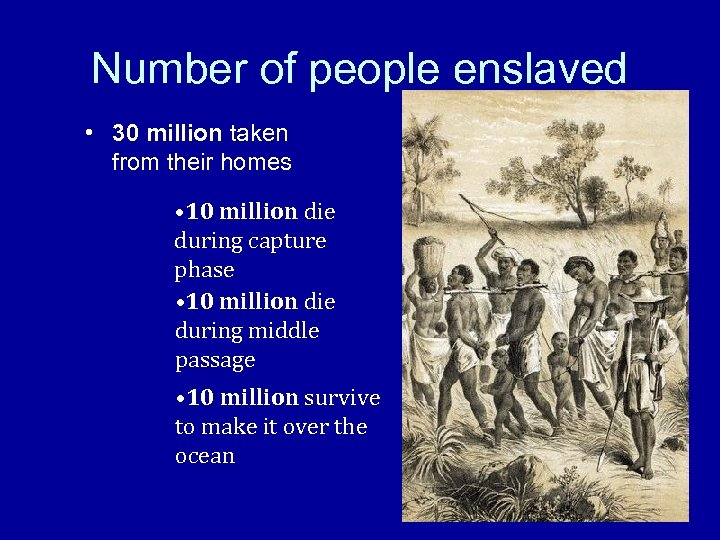 Number of people enslaved • 30 million taken from their homes • 10 million