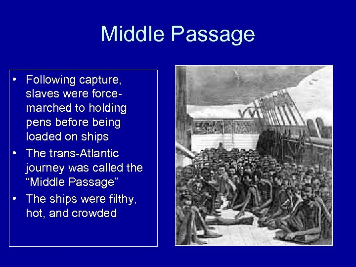 Middle Passage • Following capture, slaves were forcemarched to holding pens before being loaded
