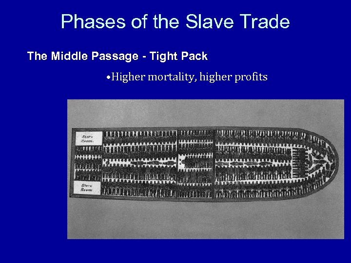 Phases of the Slave Trade The Middle Passage - Tight Pack • Higher mortality,