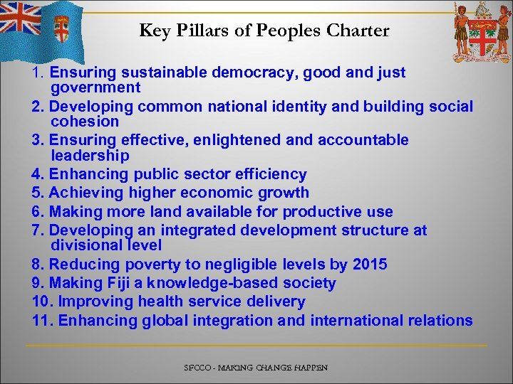 Key Pillars of Peoples Charter 1. Ensuring sustainable democracy, good and just government 2.