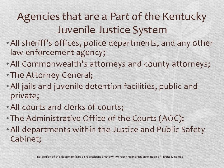 Agencies that are a Part of the Kentucky Juvenile Justice System • All sheriff's