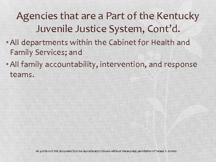 Agencies that are a Part of the Kentucky Juvenile Justice System, Cont'd. • All