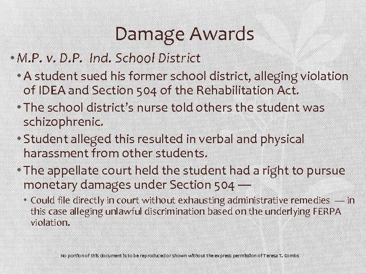 Damage Awards • M. P. v. D. P. Ind. School District • A student