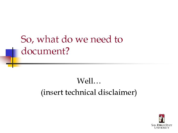 So, what do we need to document? Well… (insert technical disclaimer)