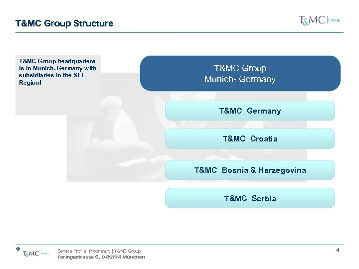 T&MC Group Structure T&MC Group headquarters is in Munich, Germany with subsidiaries in the
