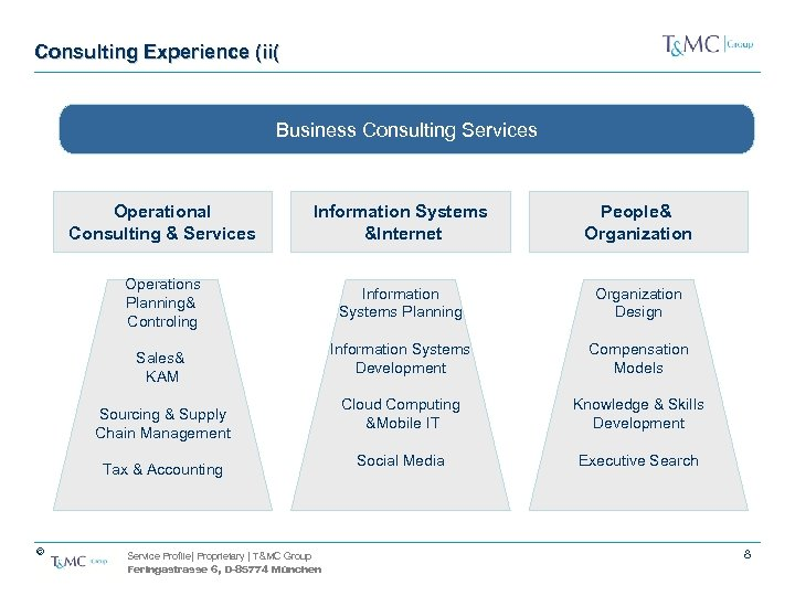 Consulting Experience (ii( Business Consulting Services Operational Consulting & Services Information Systems &Internet People&