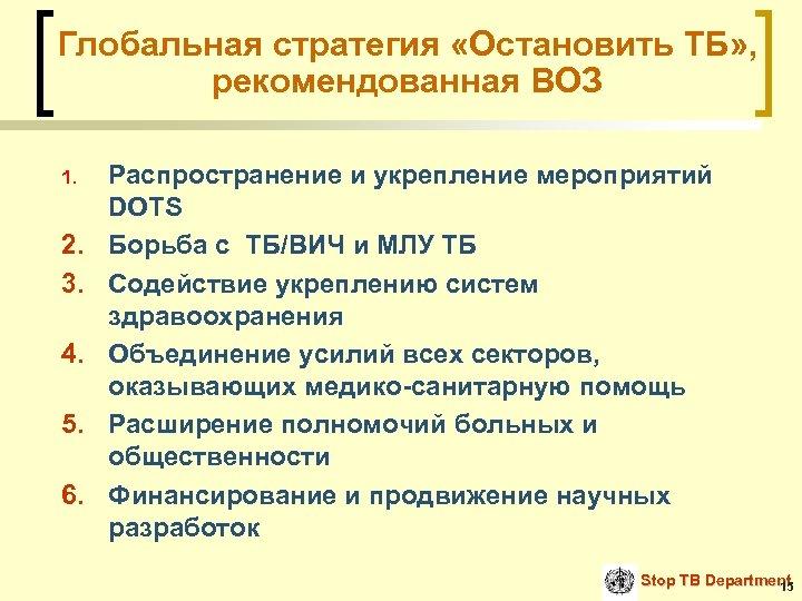 Глобальная стратегия «Остановить ТБ» , рекомендованная ВОЗ 1. 2. 3. 4. 5. 6. Распространение