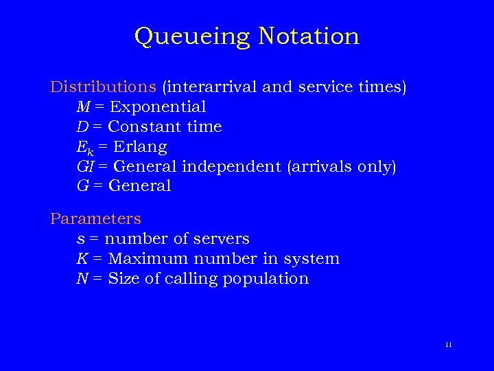 Queueing Notation Distributions (interarrival and service times) M = Exponential D = Constant time
