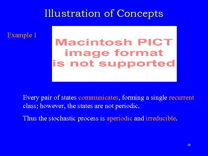 Illustration of Concepts Example 1 Every pair of states communicates, forming a single recurrent