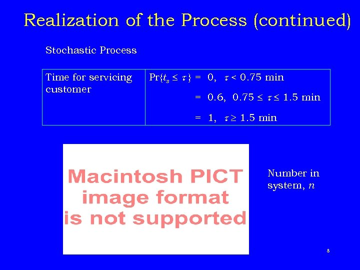 Realization of the Process (continued) Stochastic Process Time for servicing customer Pr{ts } =