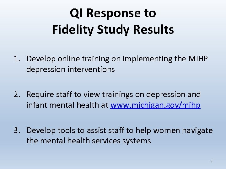 QI Response to Fidelity Study Results 1. Develop online training on implementing the MIHP