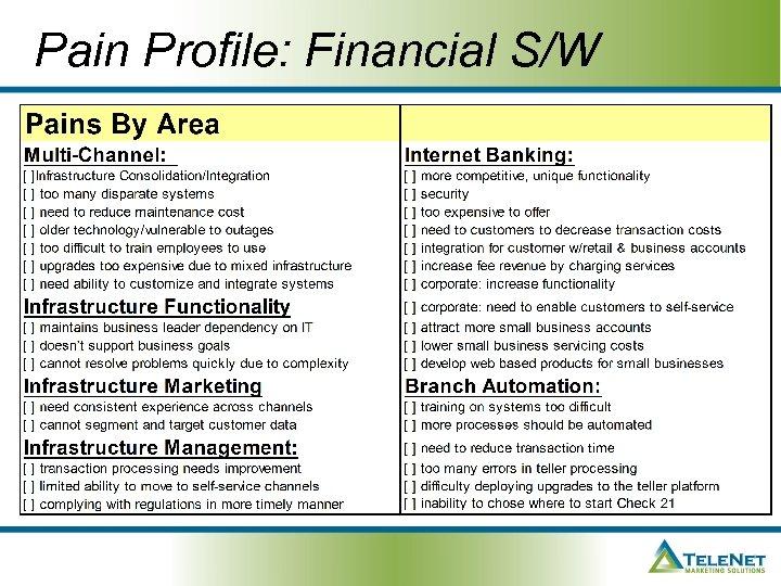 Pain Profile: Financial S/W