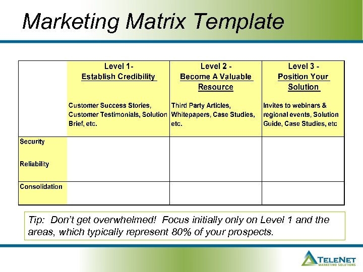 Marketing Matrix Template Tip: Don't get overwhelmed! Focus initially on Level 1 and the