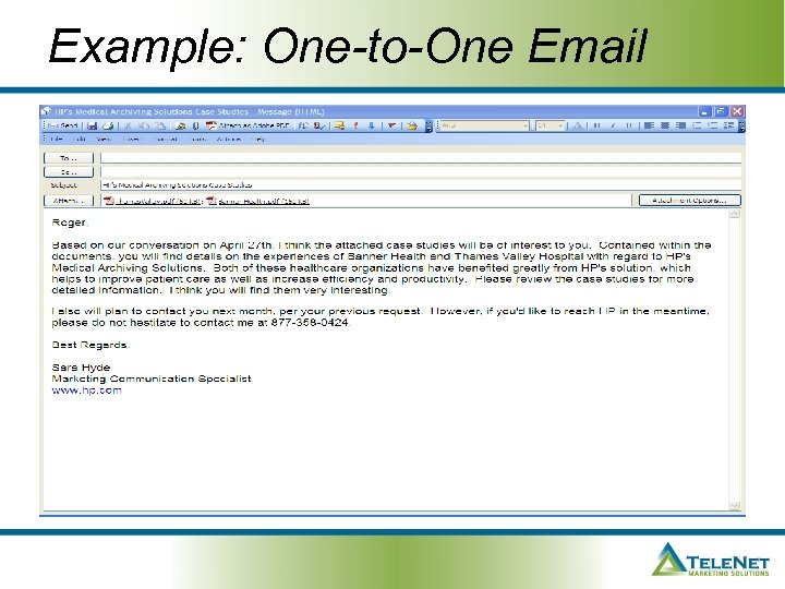 Example: One-to-One Email