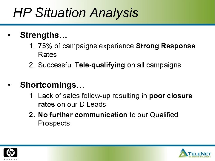 HP Situation Analysis • Strengths… 1. 75% of campaigns experience Strong Response Rates 2.