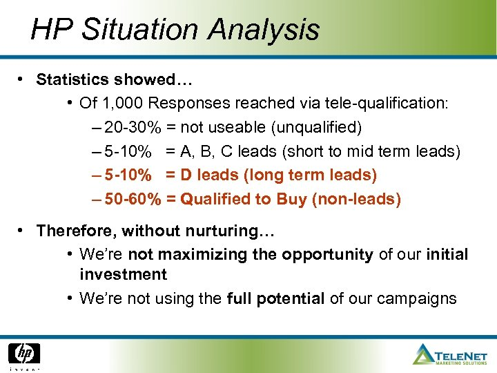 HP Situation Analysis • Statistics showed… • Of 1, 000 Responses reached via tele-qualification: