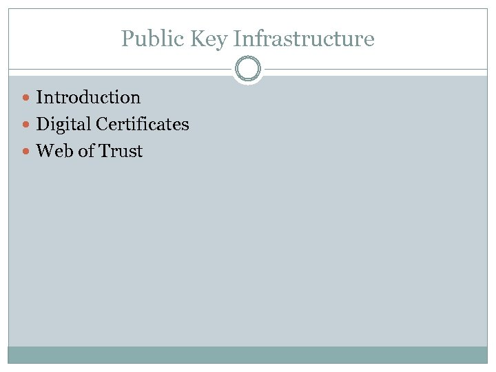 Public Key Infrastructure Introduction Digital Certificates Web of Trust