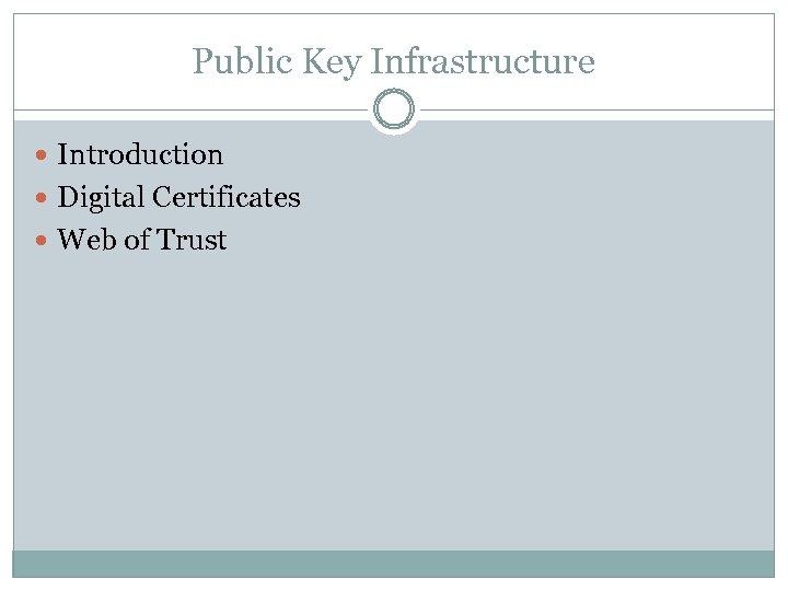 Public Key Infrastructure Introduction Digital Certificates Web of Trust