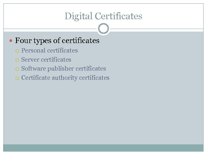Digital Certificates Four types of certificates Personal certificates Server certificates Software publisher certificates Certificate