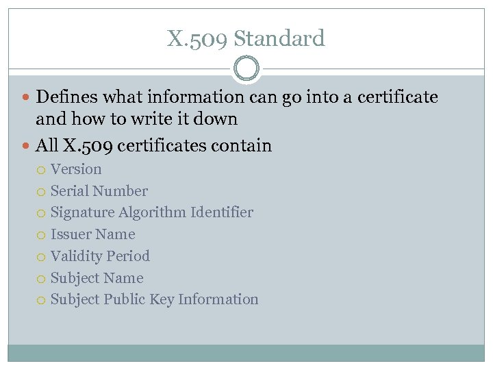 X. 509 Standard Defines what information can go into a certificate and how to