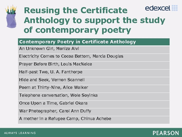 Reusing the Certificate Anthology to support the study Click to edit Master title style