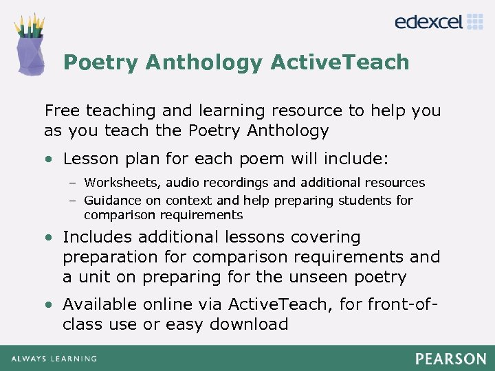 Poetry Anthology Active. Teach Click to edit Master title style Free teaching and learning