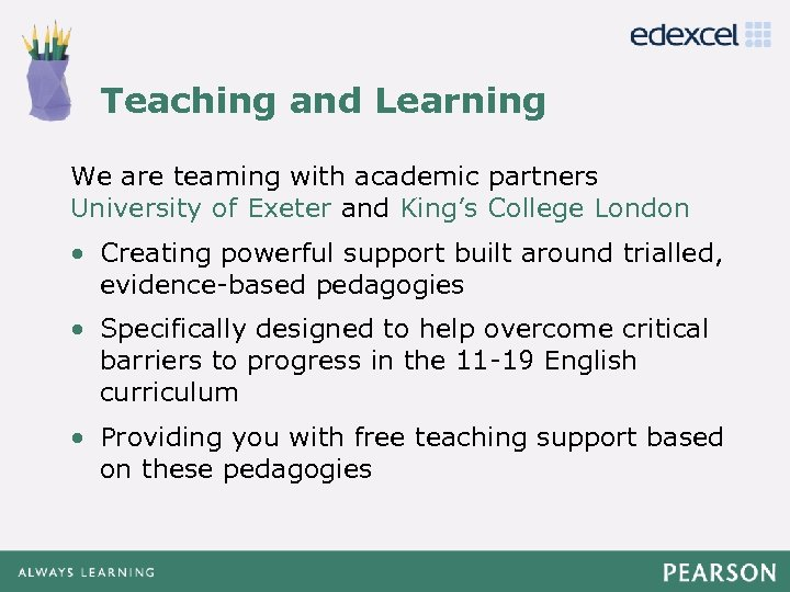 Teaching and Learning Click to edit Master title style We are teaming with academic