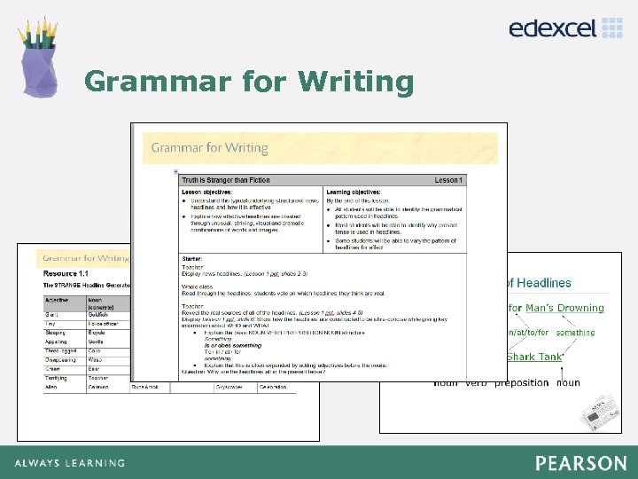 Click to edit Master title style Grammar for Writing • Click to edit Master