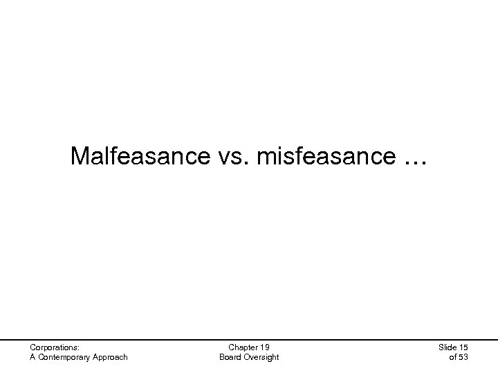 Malfeasance vs. misfeasance … Corporations: A Contemporary Approach Chapter 19 Board Oversight Slide 15