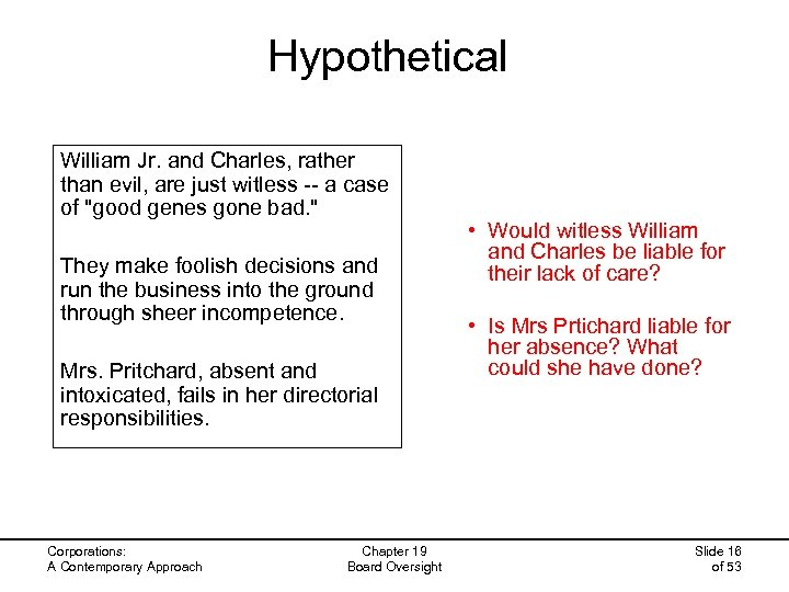 Hypothetical William Jr. and Charles, rather than evil, are just witless -- a case