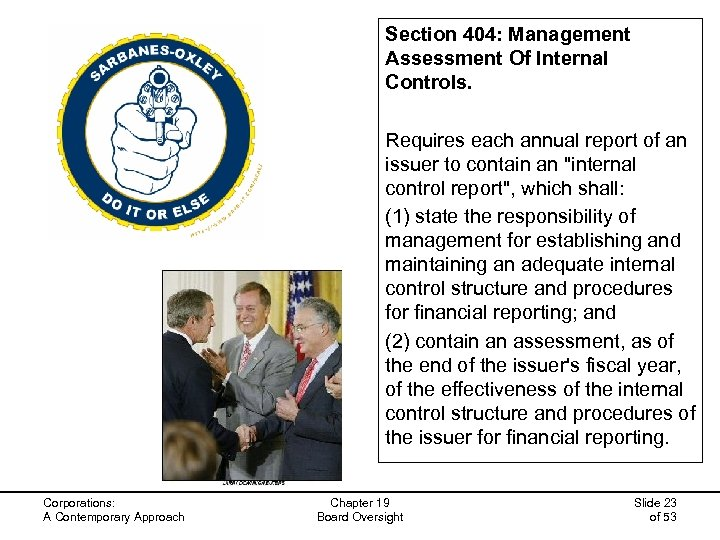 Section 404: Management Assessment Of Internal Controls. Requires each annual report of an issuer