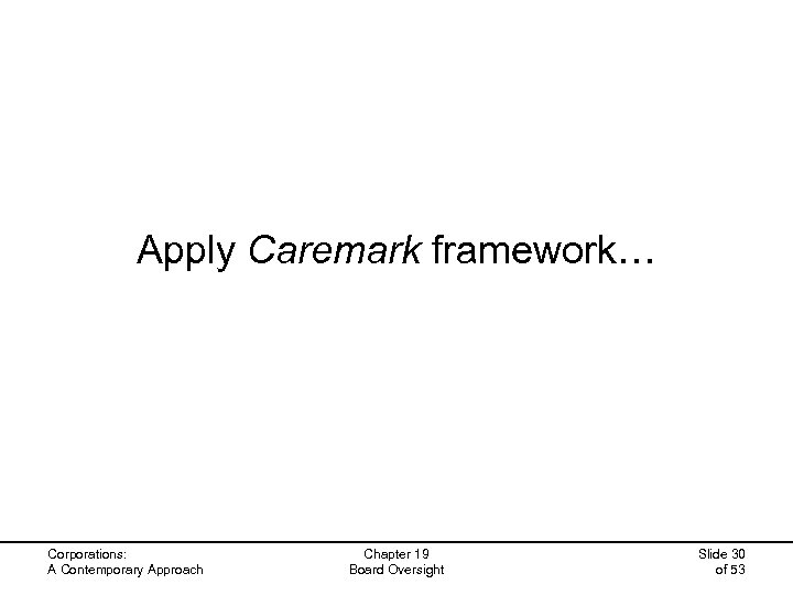 Apply Caremark framework… Corporations: A Contemporary Approach Chapter 19 Board Oversight Slide 30 of