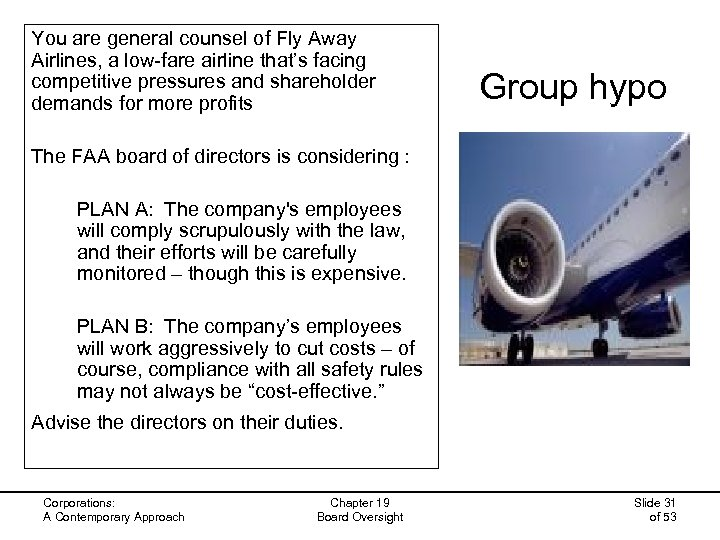 You are general counsel of Fly Away Airlines, a low-fare airline that's facing competitive