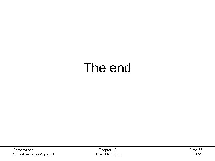 The end Corporations: A Contemporary Approach Chapter 19 Board Oversight Slide 33 of 53
