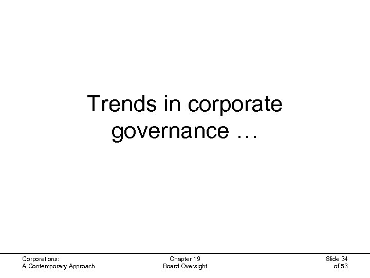 Trends in corporate governance … Corporations: A Contemporary Approach Chapter 19 Board Oversight Slide