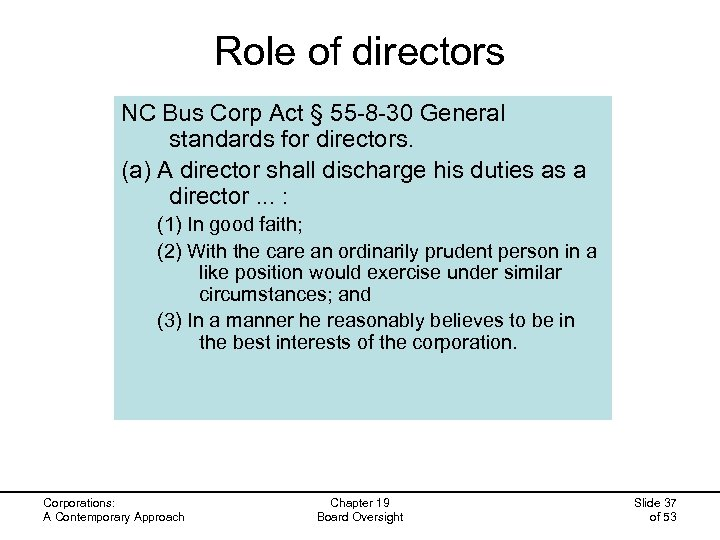 Role of directors NC Bus Corp Act § 55 -8 -30 General standards for