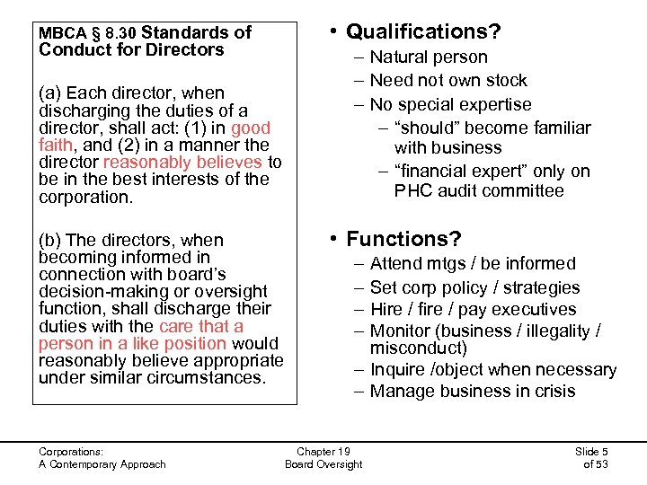 • Qualifications? MBCA § 8. 30 Standards of Conduct for Directors (a) Each