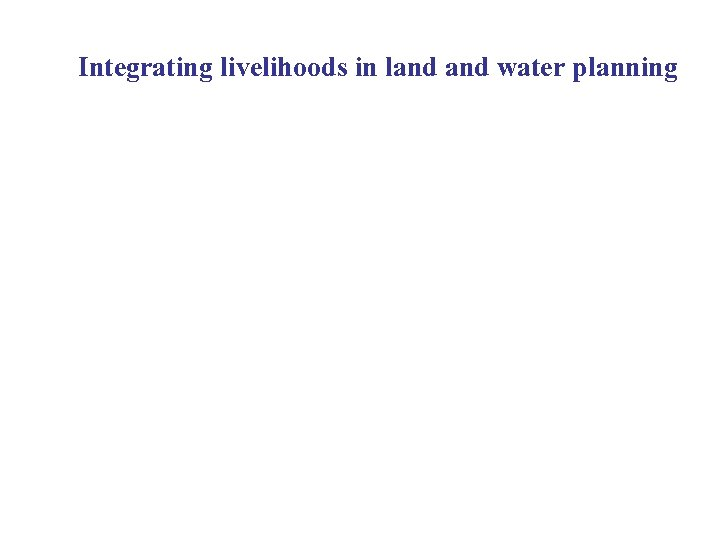 Integrating livelihoods in land water planning