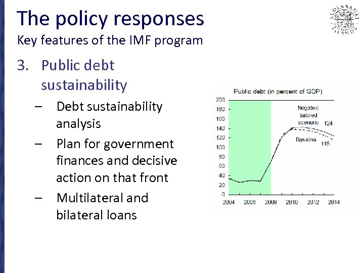 The policy responses Key features of the IMF program 3. Public debt sustainability –