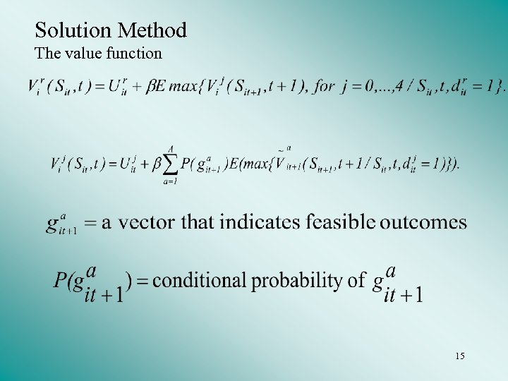 Solution Method The value function 15