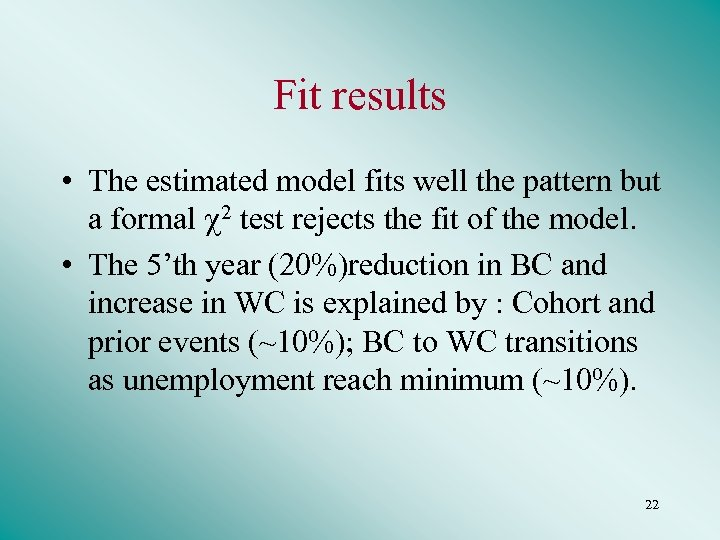 Fit results • The estimated model fits well the pattern but a formal 2